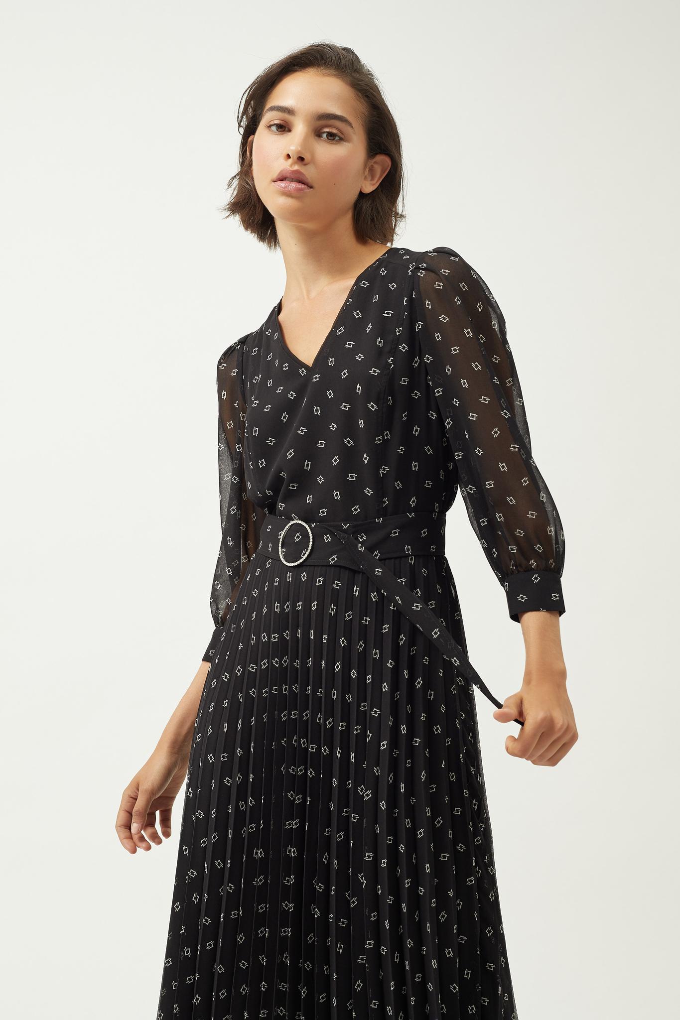Платье - миди с плиссировкой