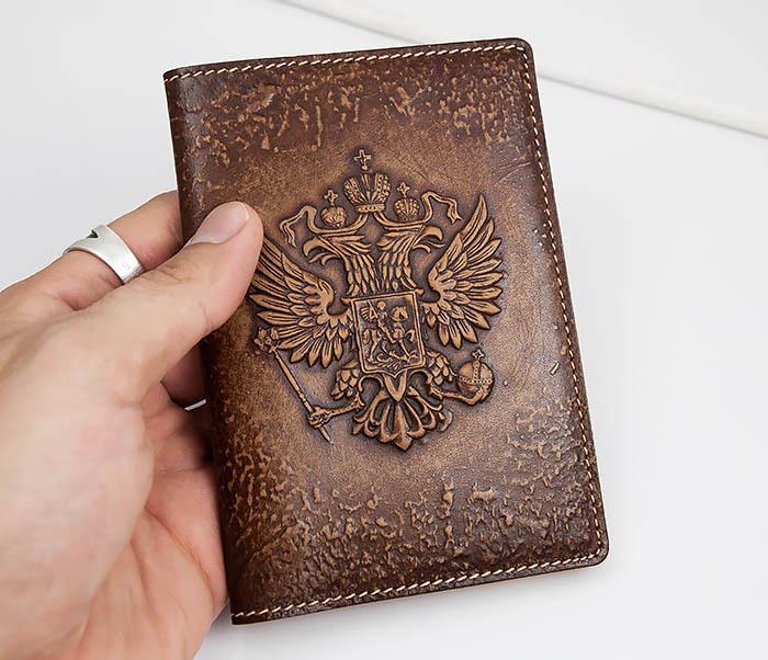 BY14-25-06 Обложка для паспорта Герб России, объемное тиснение фото 03