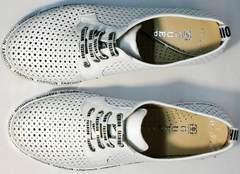 Летние женские белые туфли на шнурках GUERO G177-63 White.