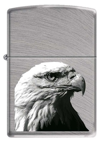 Зажигалка Zippo Орёл, латунь с покрытием Chrome Arch, серебристая, матовая, 36x12x56 мм