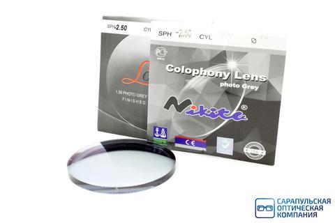 Линза очковая полимерная фотохромная серая с многослойным покрытием фильтром