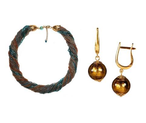 Комплект украшений янтарно-зеленый (серьги-бусины, ожерелье из бисера 48 нитей)