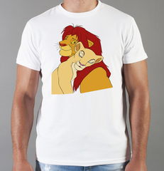 Футболка с принтом мультфильма Король лев (The Lion King, Симба, Нала) белая 008