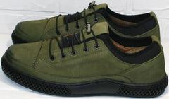 Красивые модные туфли кеды кожаные мужские Luciano Bellini C2801 Nb Khaki.