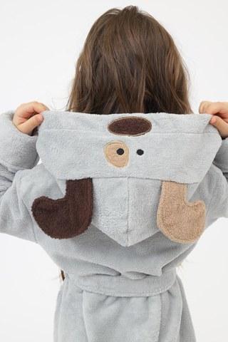 Детский  банный  махровый  халат с капюшоном Doggy серый