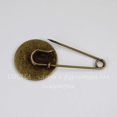 Основа для броши - булавка с сеттингом для кабошона 20 мм, 47х22 мм (цвет - античная бронза)