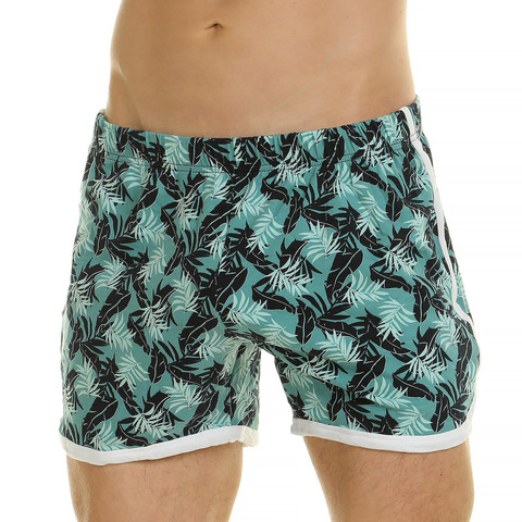 Мужские шорты домашние зелёные с принтом Van Baam 44768