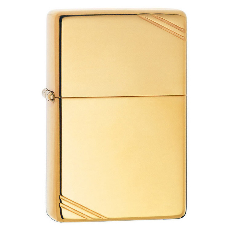 Зажигалка Zippo с полосками, с покрытием High Polish Brass, латунь/сталь, золотистая, глянцевая