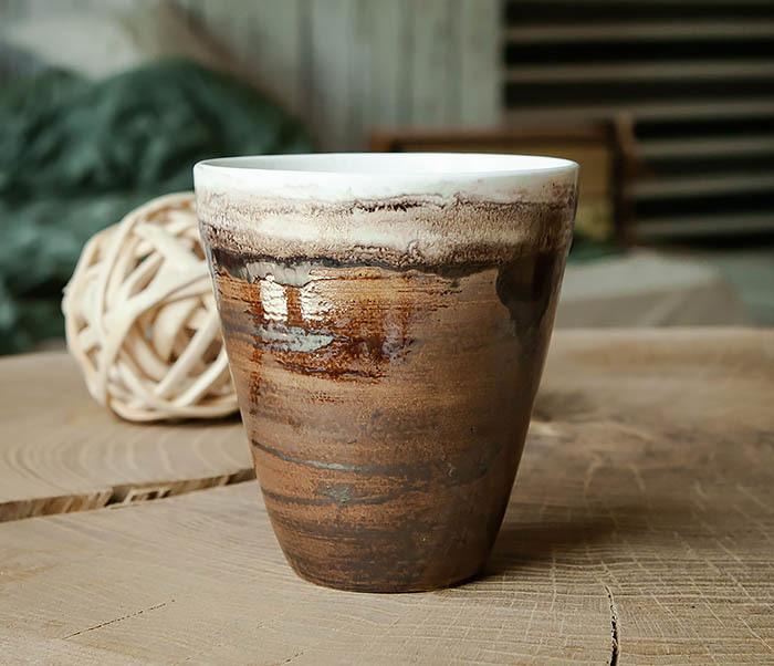 CUP106-2 Стакан из керамики в глазури коричневого цвета