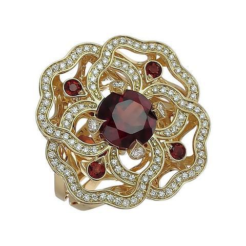 01К647987-2 - Кольцо из желтого золота 750 пробы с бриллиантами и гранатами