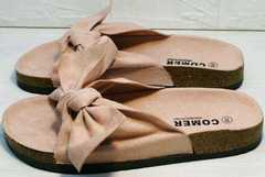 Модные женские сандалии шлепанцы биркенштоки Comer SAR-15 Pink.