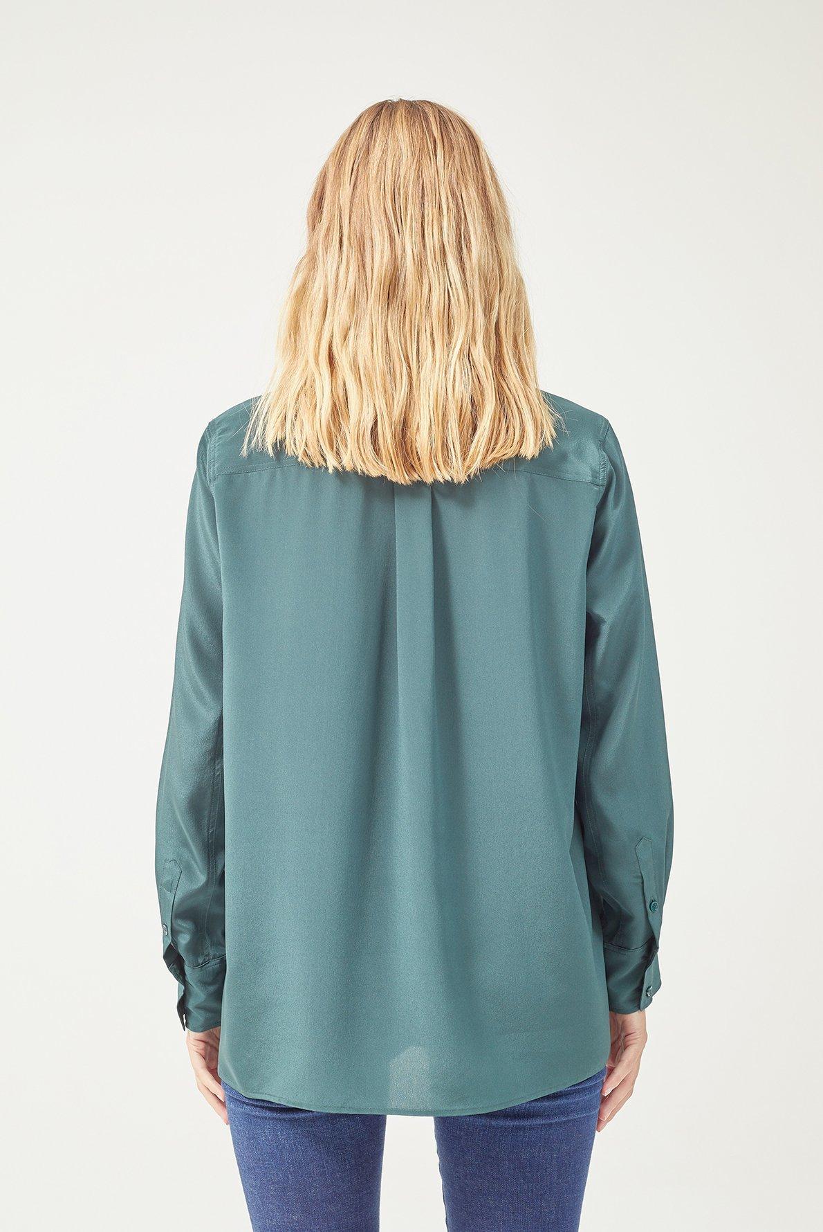 Рубашка из шелка с накладными карманами