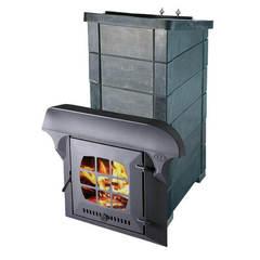 Печь Калита Экстрим РК (Чугунный тоннель с чугунной дверью, с панорамным стеклом, облицовка - талькохлорит)