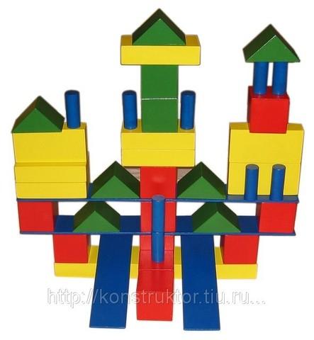 Конструктор напольный детский из дерева. Модель «Строитель» - 72 элементов