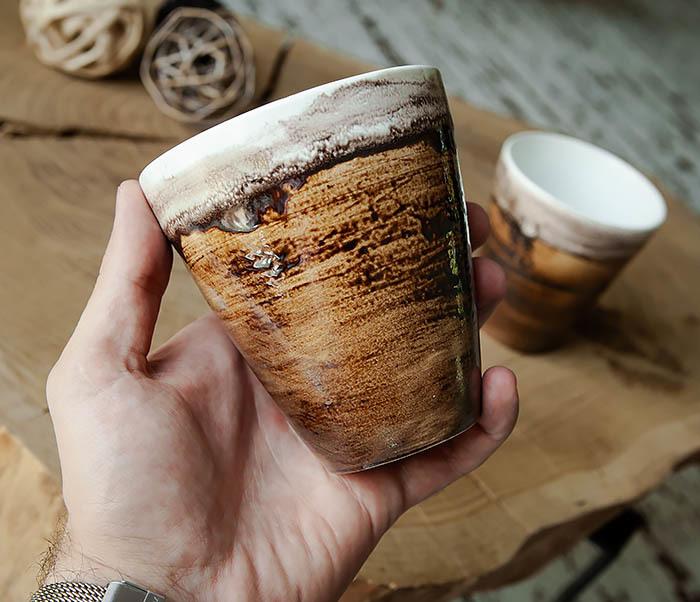 CUP106-2 Стакан из керамики в глазури коричневого цвета фото 04