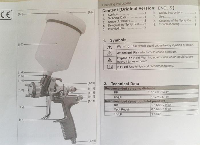 Краскопульт R-3900, лист спецификации