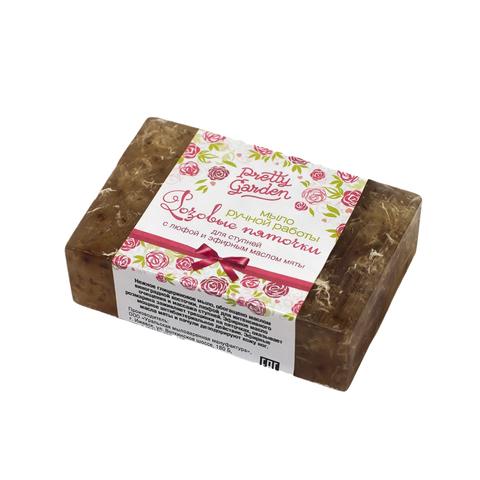 Мыло ручной работы для ступней Розовые пяточки  80±5 г с люфой и эфирным маслом мяты ТМ PRETTY GARDEN