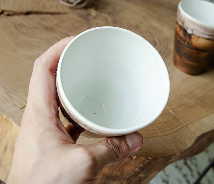 CUP106-2 Стакан из керамики в глазури коричневого цвета фото 05