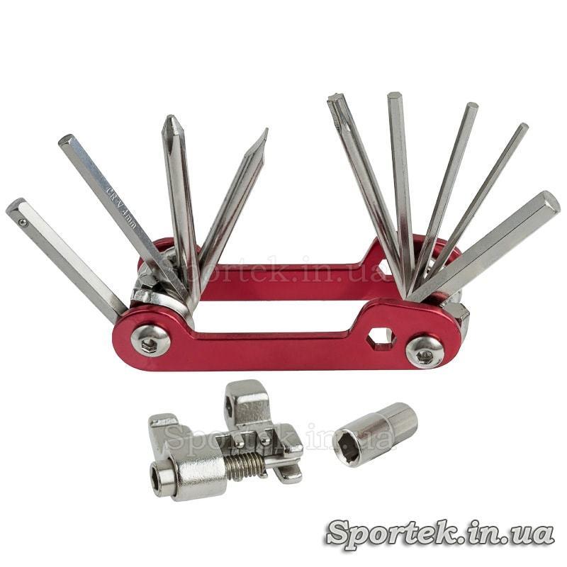 Мультитул велосипедний 11 в 1, викрутки, шестигранники, витримка ланцюга