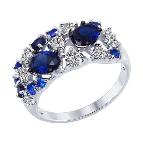 94012300- Роскошное кольцо из серебра с синими фианитами