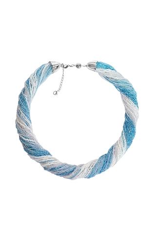 Бисерное ожерелье из 48 нитей серебристо-голубое