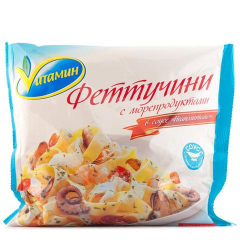 """Феттучини с морепродуктами """"Vитамин"""" в соусе неаполитано 400 г"""