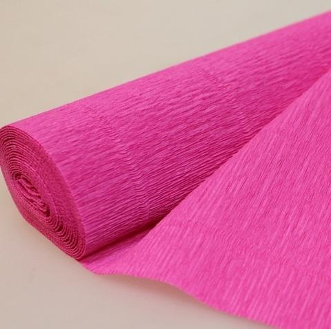 Бумага гофрированная, цвет 570 светло-малиновый, 180г, 50х250 см, Cartotecnica Rossi (Италия)
