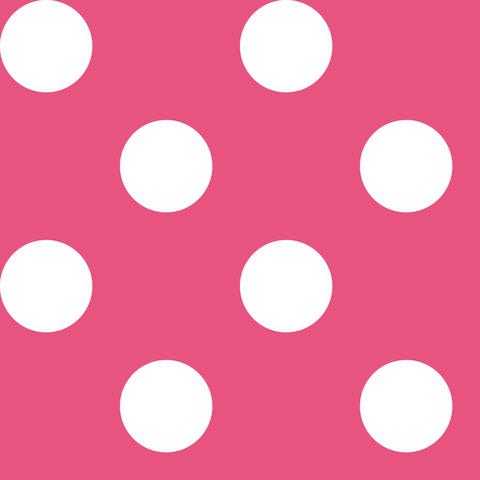 Креп сатин темно-розовый в белый горох 2,5 см