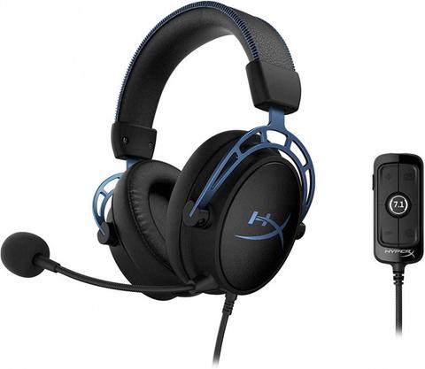Наушники с микрофоном HyperX Cloud Alpha S черный/голубой 1м мониторные оголовье (HX-HSCAS-BL/WW)