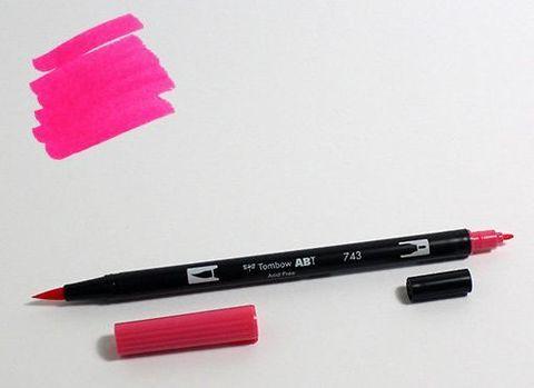 Маркер-кисть Tombow ABT Dual Brush Pen-743, ярко-розовый