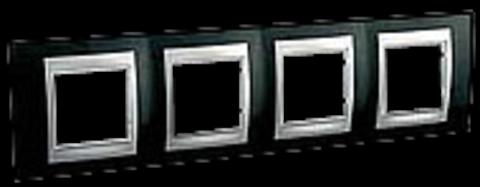 Рамка на 4 поста. Цвет Родий-алюминий. Schneider electric Unica Top. MGU66.008.093