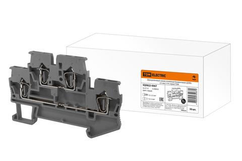 Двухуровневый зажим клеммный безвинтовой (ДЗКБ) 2,5 мм2 31А серый TDM