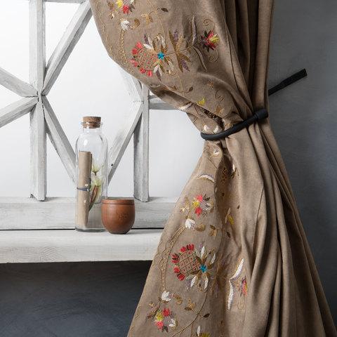 Комплект штор с подхватами Дебби коричневый