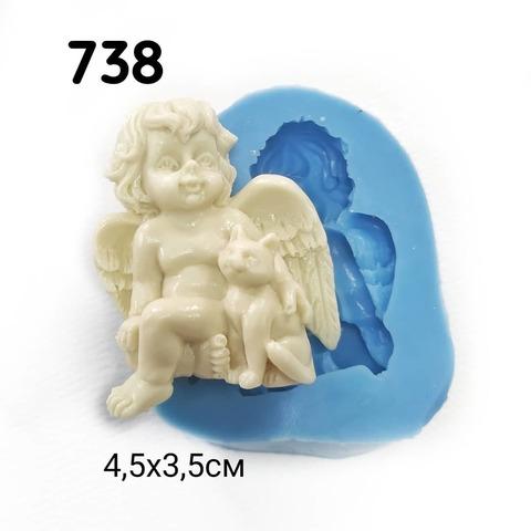 0738 Молд силиконовый. Ангел с котом.