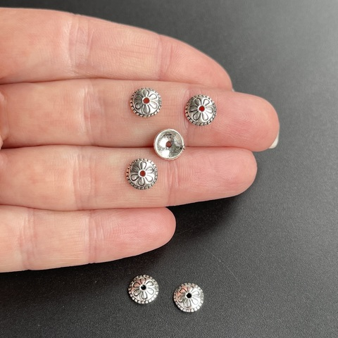 Шапочка Магнолия 7,7 мм серебро 925 1 шт