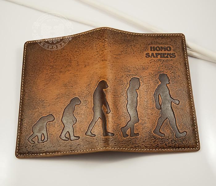 BY14-26-02 Обложка для паспорта «Homo Sapiens» из натуральной кожи