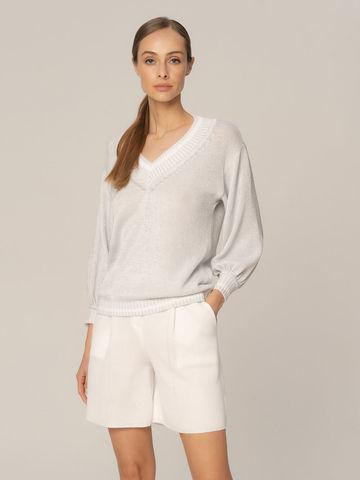 Женский джемпер белого цвета из хлопка - фото 2