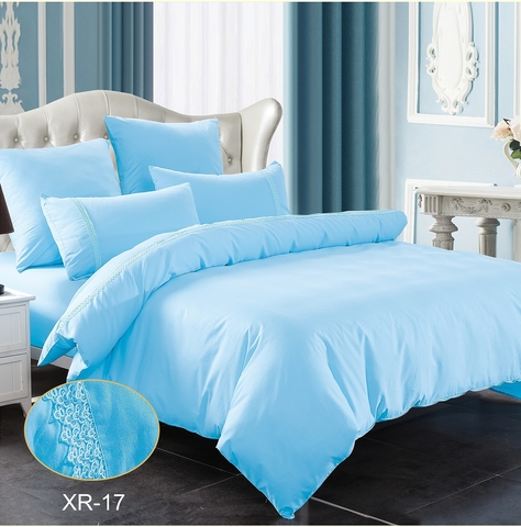 1.5-Спальное однотонное постельное голубое