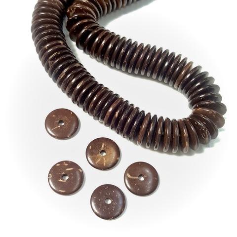 Бусина из Кокоса рондель 10х2 мм цвет коричневый 1 бусина