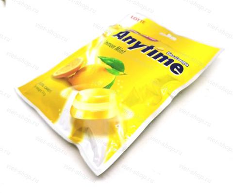 Карамель без сахара со вкусом лимона Anytime Lemon Mint Lotte, Корея, 74 гр