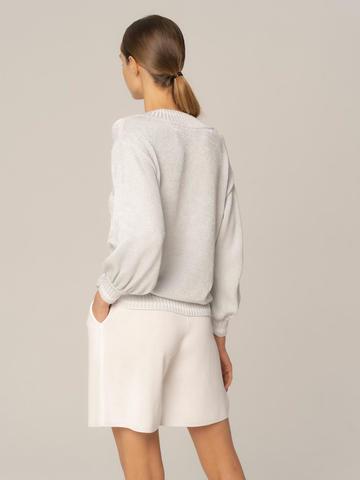 Женский джемпер белого цвета из хлопка - фото 4