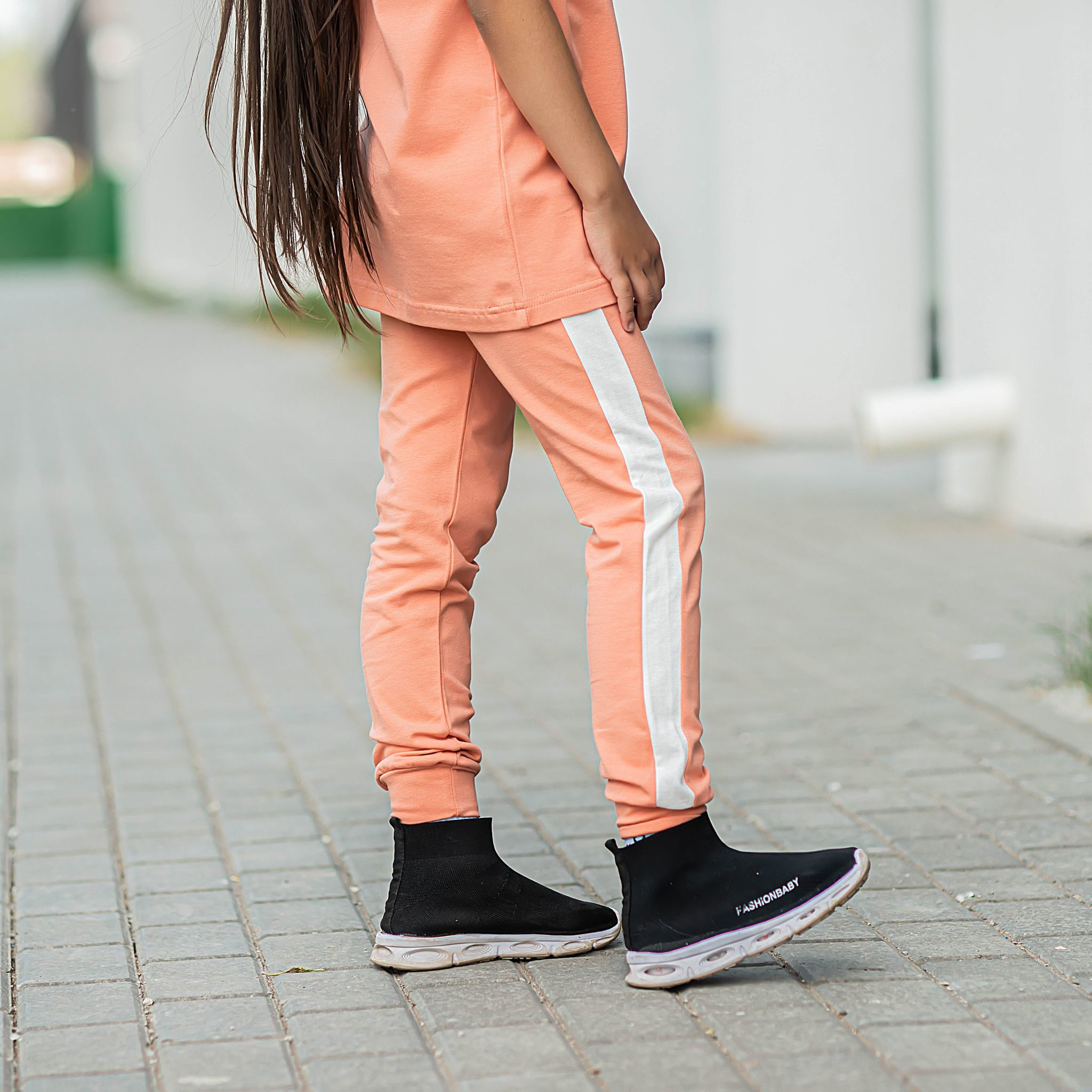 Leggings with stripes for teens - Coral