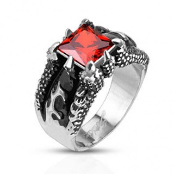 Стильный узкий мужской перстень из нержавеющей медицинской стали с красным камнем
