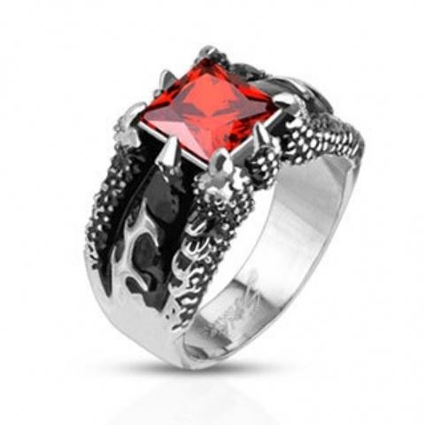 Перстень из стали с красным камнем