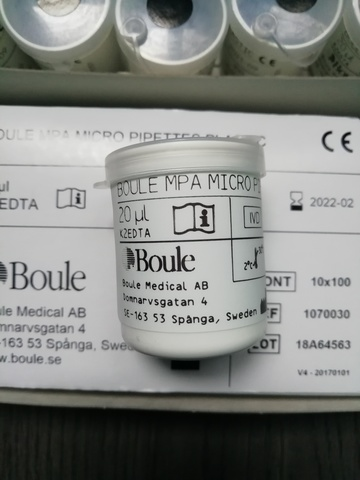 1070039 Капилляры 20мкл End-to-end (энд-ту-энд) 100шт/уп /Boule Medical AB, Sweden/Боуль Медикал АБ, Швеция/