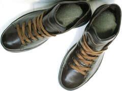 Стильные мужские кеды. Модные ботинки на шнуровке Ikoc 1770-5 B-Brown.