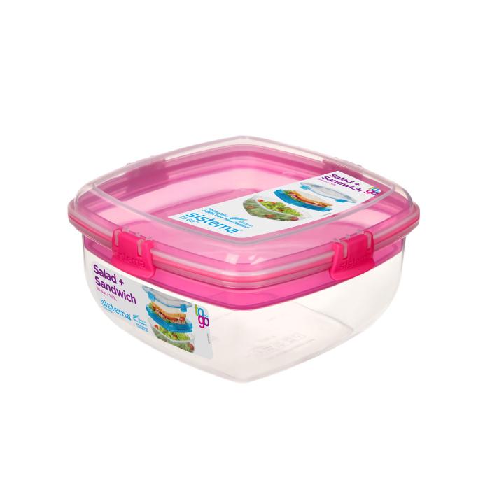 """Контейнер для салата и сэндвичей Sistema """"TO GO"""" 1,63 л, цвет Розовый"""