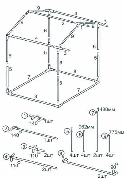 Схема сборки торговой палатки Митек Домик 1.5х1.5 Ø18 мм с логотипом