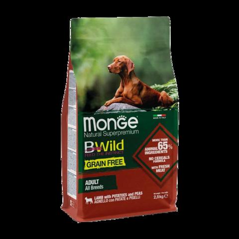 Monge Dog BWild Grain Free Сухой корм для взрослых собак всех пород из ягненка с картофелем, беззерновой