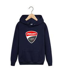 Толстовка темно-синяя с капюшоном (худи, кенгуру) и принтом Дукати (Ducati) 001